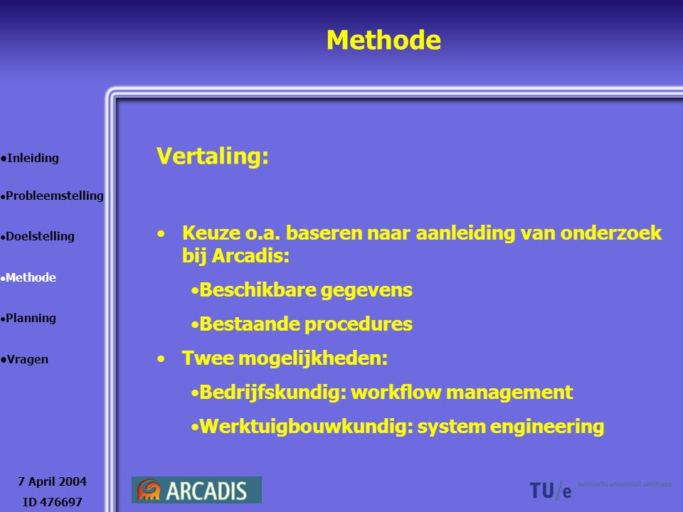 Methode 7 April 2004 ID 476697 Inleiding Probleemstelling Doelstelling Methode Planning Vragen Ontwerptool: Implementeren in bestaand programma Op alternatieve kantoorconcepten toepassen Toetsen