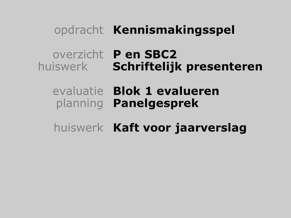 opdrachtKennismakingsspel overzichtP en SBC2 huiswerk Schriftelijk presenteren evaluatieBlok 1 evalueren planningPanelgesprek huiswerkKaft voor jaarverslag