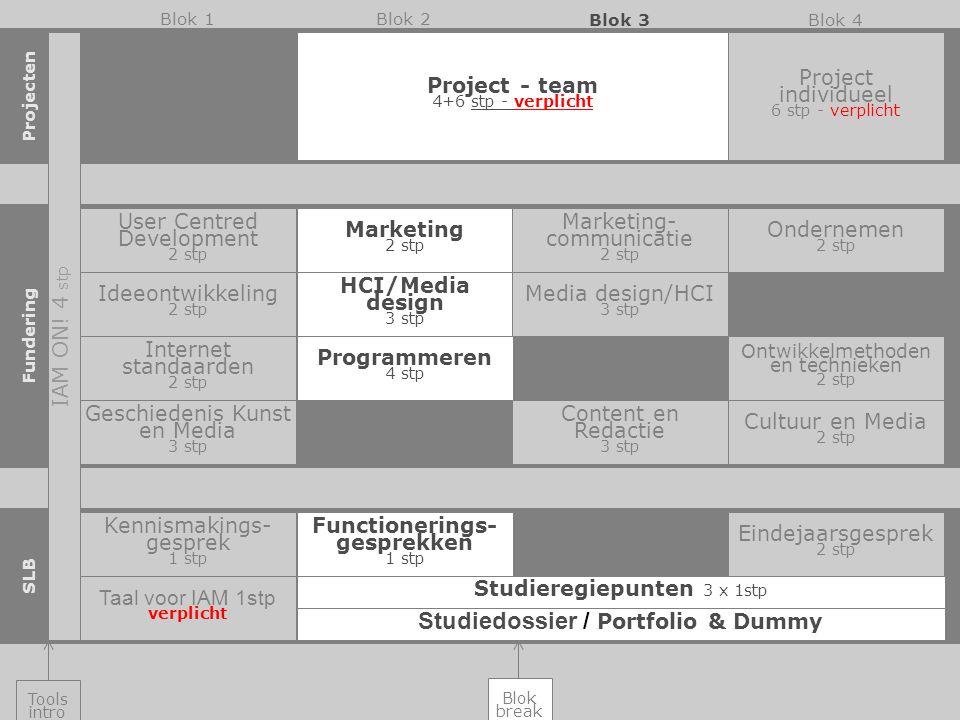 Project - team 4+6 stp - verplicht Project individueel 6 stp - verplicht Internet standaarden 2 stp Programmeren 4 stp Ontwikkelmethoden en technieken