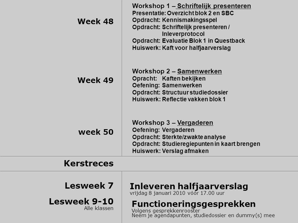 Week 48 Week 49 week 50 Kerstreces Lesweek 7 Lesweek 9-10 Alle klassen Workshop 1 – Schriftelijk presenteren Presentatie: Overzicht blok 2 en SBC Opdracht: Kennismakingsspel Opdracht:Schriftelijk presenteren / Inleverprotocol Opdracht: Evaluatie Blok 1 in Questback Huiswerk: Kaft voor halfjaarverslag Workshop 2 – Samenwerken Opracht:Kaften bekijken Oefening: Samenwerken Opdracht: Structuur studiedossier Huiswerk: Reflectie vakken blok 1 Workshop 3 – Vergaderen Oefening: Vergaderen Opdracht:Sterkte/zwakte analyse Opdracht: Studieregiepunten in kaart brengen Huiswerk: Verslag afmaken Inleveren halfjaarverslag vrijdag 8 januari 2010 vóór 17.00 uur Functioneringsgesprekken Volgens gesprekkenrooster Neem je agendapunten, studiedossier en dummy(s) mee