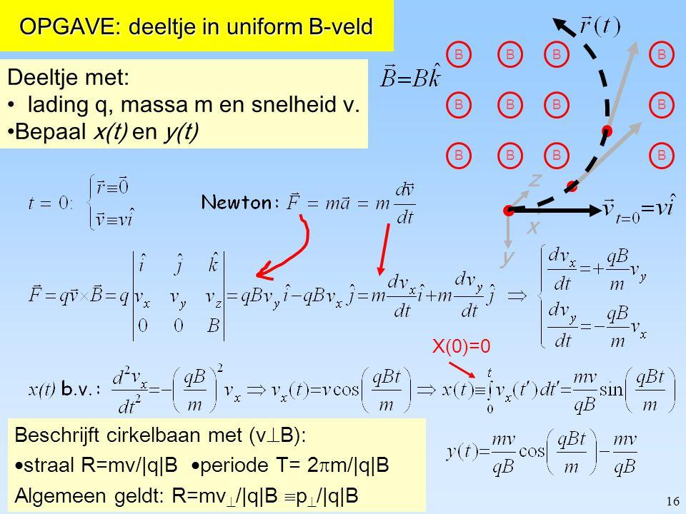 16 z y x B B B B B B B B B B B B OPGAVE: deeltje in uniform B-veld Beschrijft cirkelbaan met (v  B):  straal R=mv/|q|B  periode T= 2  m/|q|B Algem