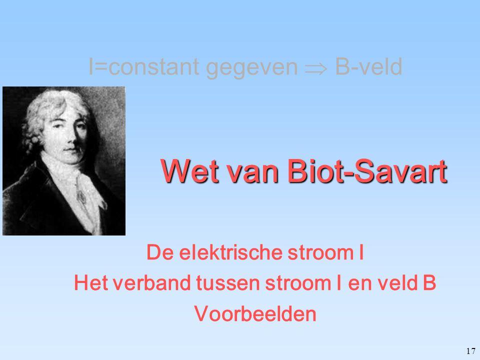17 Wet van Biot-Savart De elektrische stroom I Het verband tussen stroom I en veld B Voorbeelden I=constant gegeven  B-veld