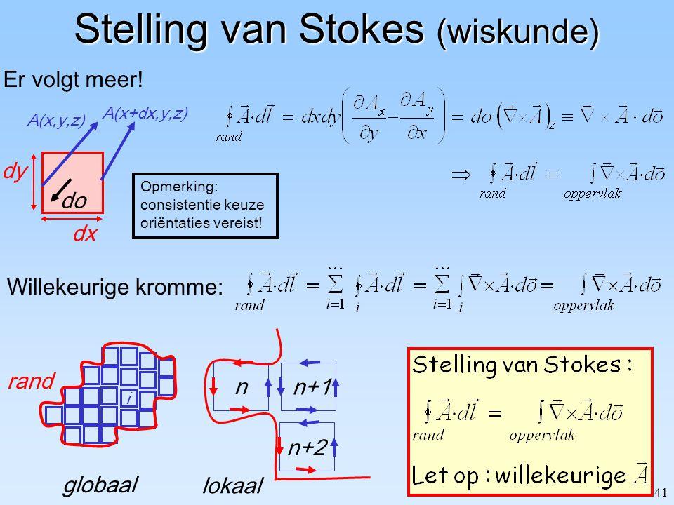 41 Stelling van Stokes (wiskunde) Er volgt meer! dx dy A(x+dx,y,z) A(x,y,z) do Opmerking: consistentie keuze oriëntaties vereist! Willekeurige kromme: