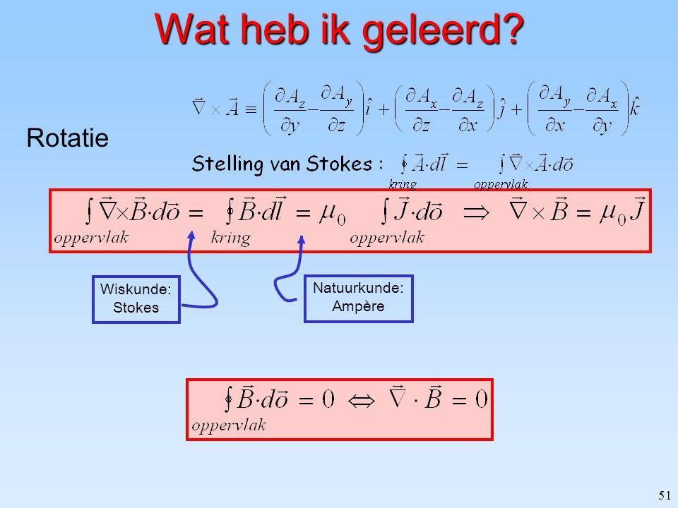 51 Wat heb ik geleerd? Wiskunde: Stokes Natuurkunde: Ampère Rotatie