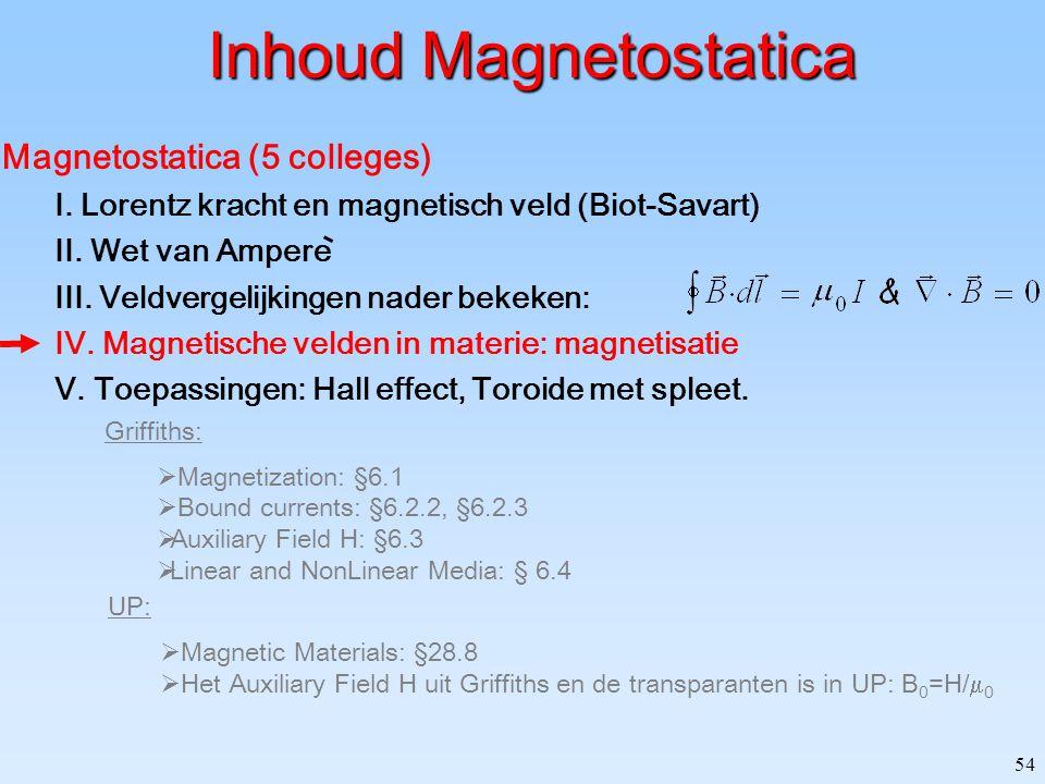 54 Inhoud Magnetostatica Magnetostatica (5 colleges) I. Lorentz kracht en magnetisch veld (Biot-Savart) II. Wet van Ampere III. Veldvergelijkingen nad