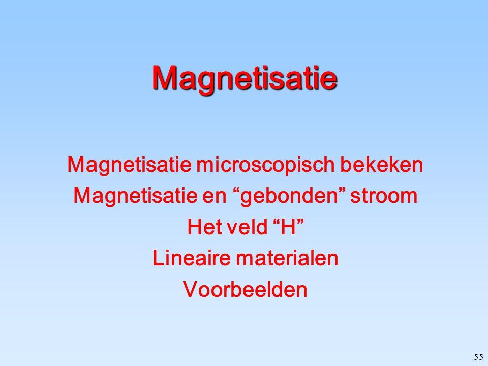 """55 Magnetisatie Magnetisatie microscopisch bekeken Magnetisatie en """"gebonden"""" stroom Het veld """"H"""" Lineaire materialen Voorbeelden"""