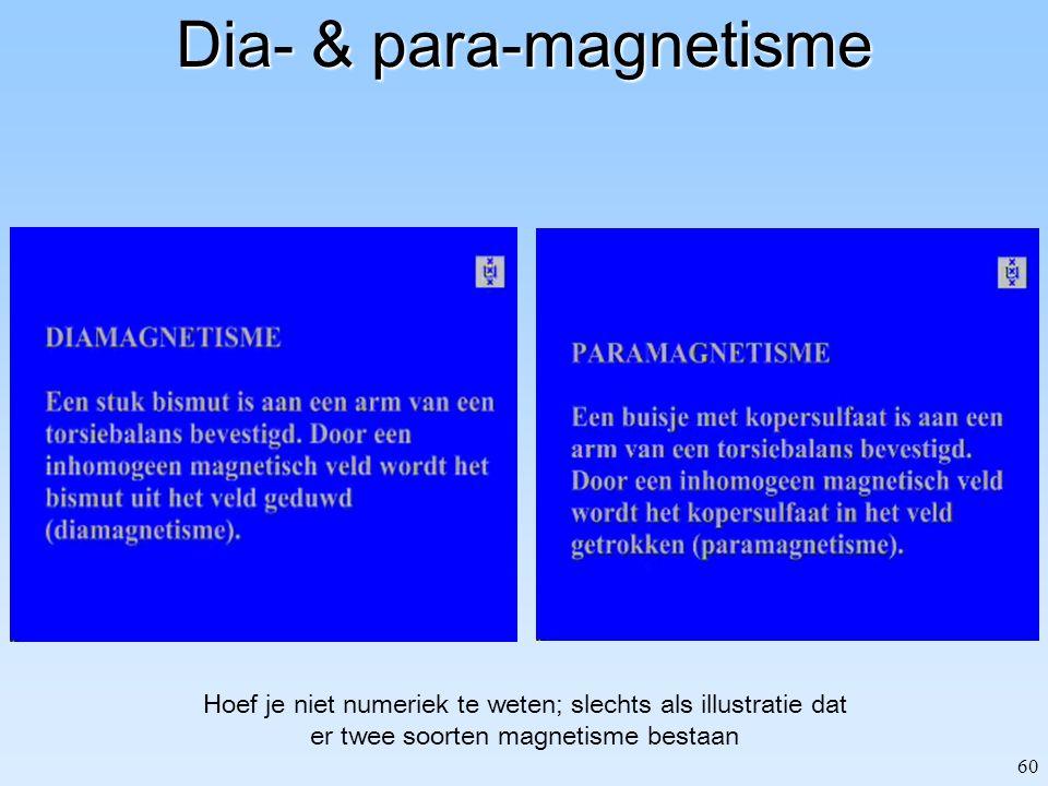 60 Dia- & para-magnetisme Hoef je niet numeriek te weten; slechts als illustratie dat er twee soorten magnetisme bestaan
