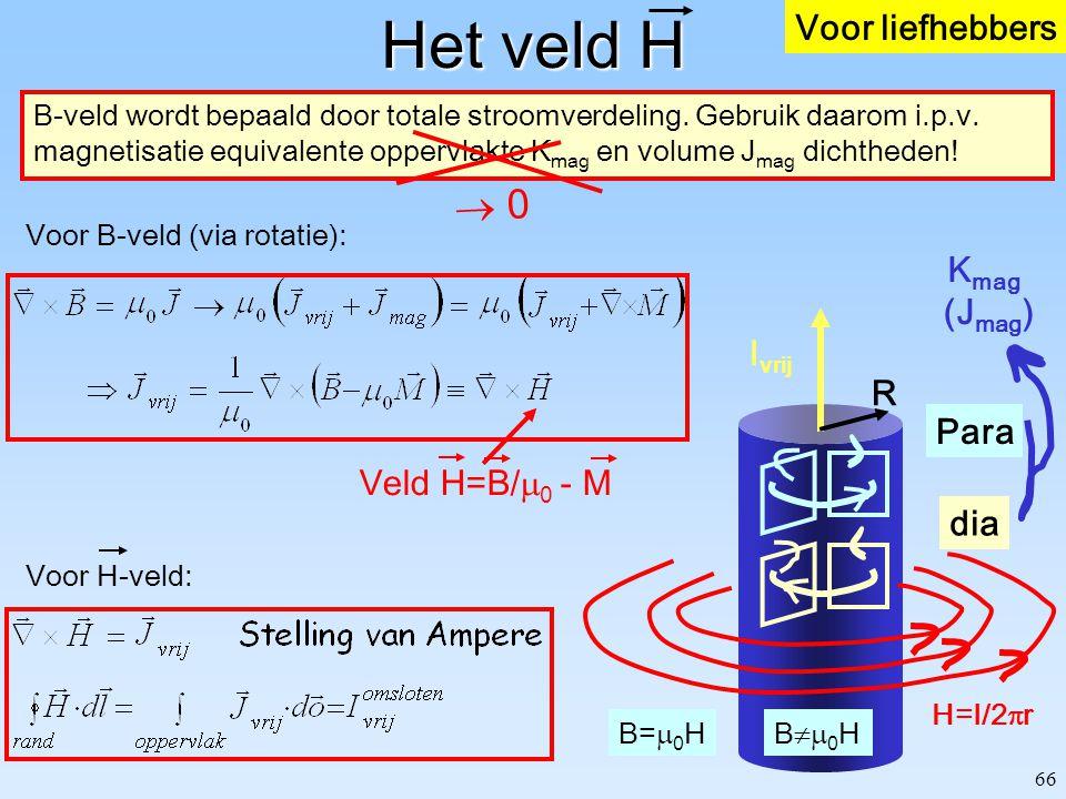 66 Het veld H B-veld wordt bepaald door totale stroomverdeling. Gebruik daarom i.p.v. magnetisatie equivalente oppervlakte K mag en volume J mag dicht