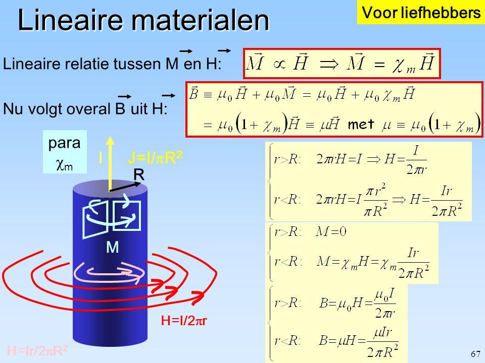 67 Lineaire materialen J=I/  R 2 I R H=I/2  r H=Ir/2  R 2 Lineaire relatie tussen M en H: para  m M Nu volgt overal B uit H: Voor liefhebbers