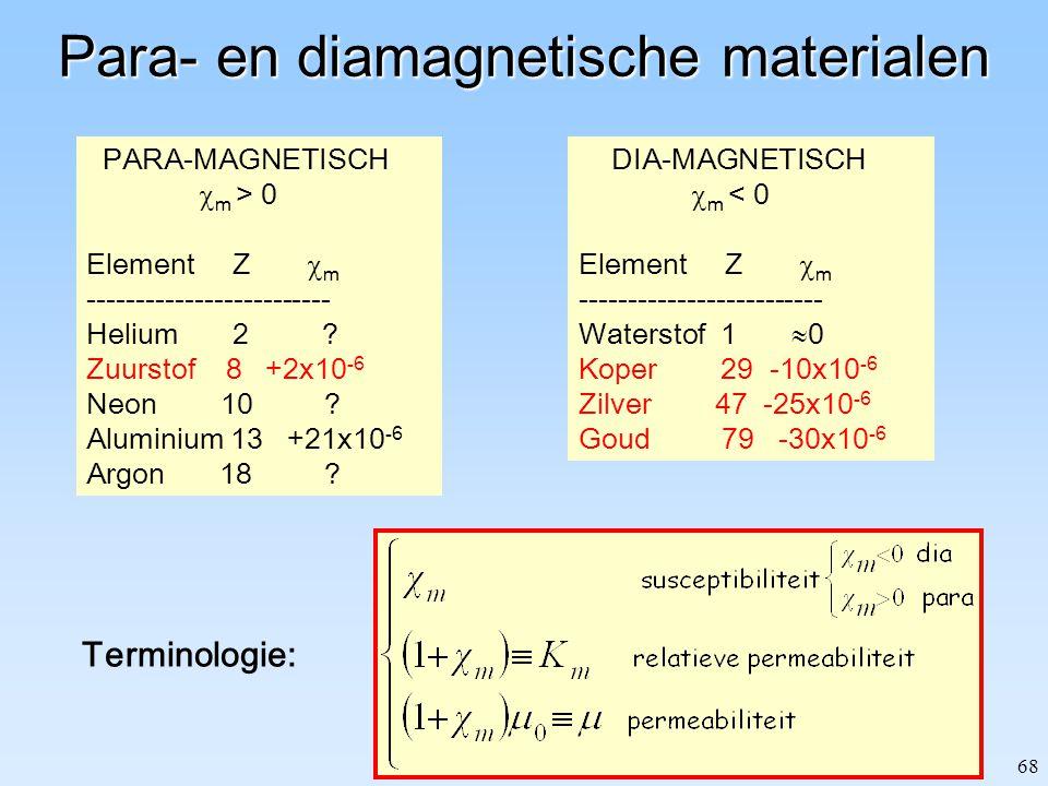 68 Para- en diamagnetische materialen PARA-MAGNETISCH  m > 0 Element Z  m ------------------------- Helium 2 ? Zuurstof 8 +2x10 -6 Neon 10 ? Alumini