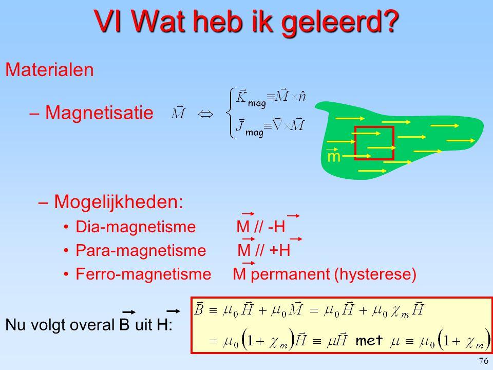 76 Materialen –Magnetisatie m VI Wat heb ik geleerd? –Mogelijkheden: Dia-magnetisme M // -H Para-magnetisme M // +H Ferro-magnetisme M permanent (hyst