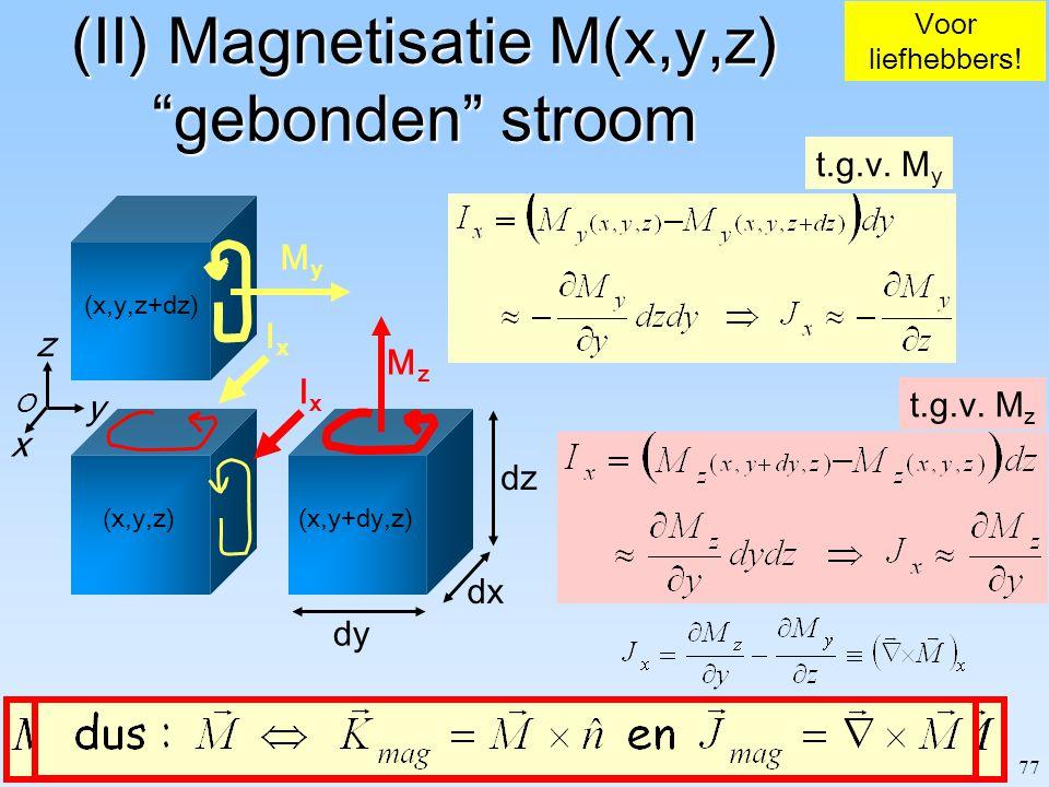 """77 O z x y dy dx dz (x,y+dy,z) (x,y,z+dz) (x,y,z) (II) Magnetisatie M(x,y,z) """"gebonden"""" stroom Voor liefhebbers! MyMy MzMz IxIx t.g.v. M y IxIx t.g.v."""