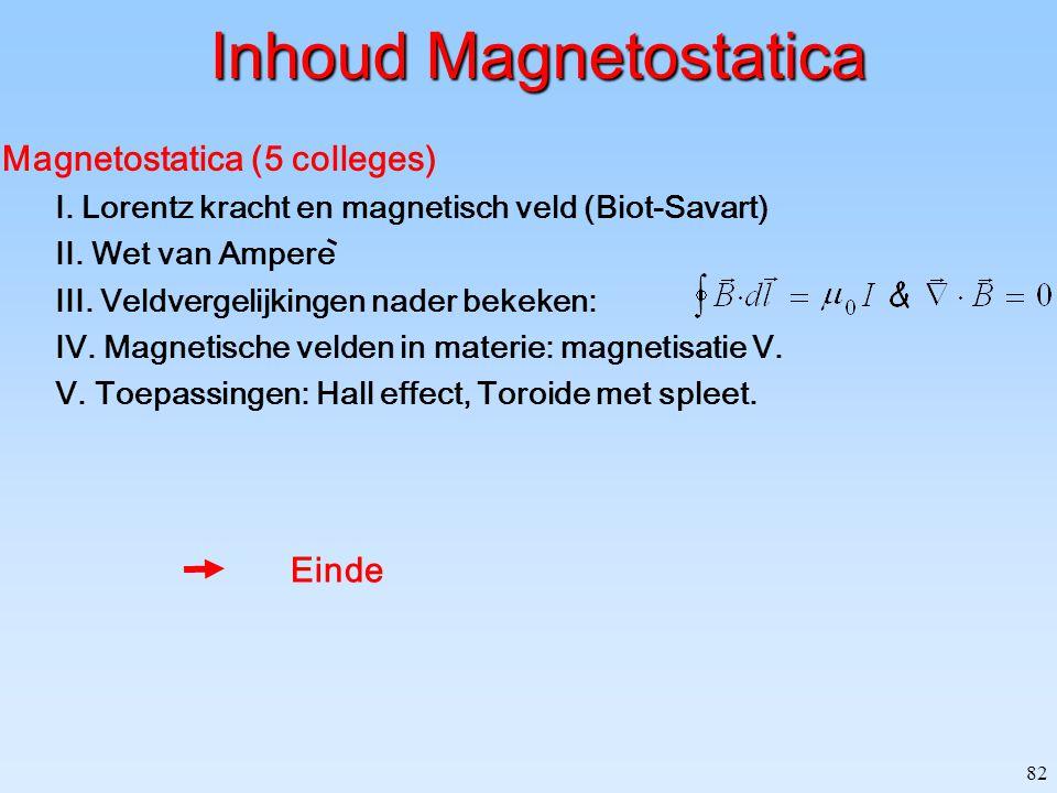 82 Inhoud Magnetostatica Magnetostatica (5 colleges) I. Lorentz kracht en magnetisch veld (Biot-Savart) II. Wet van Ampere III. Veldvergelijkingen nad