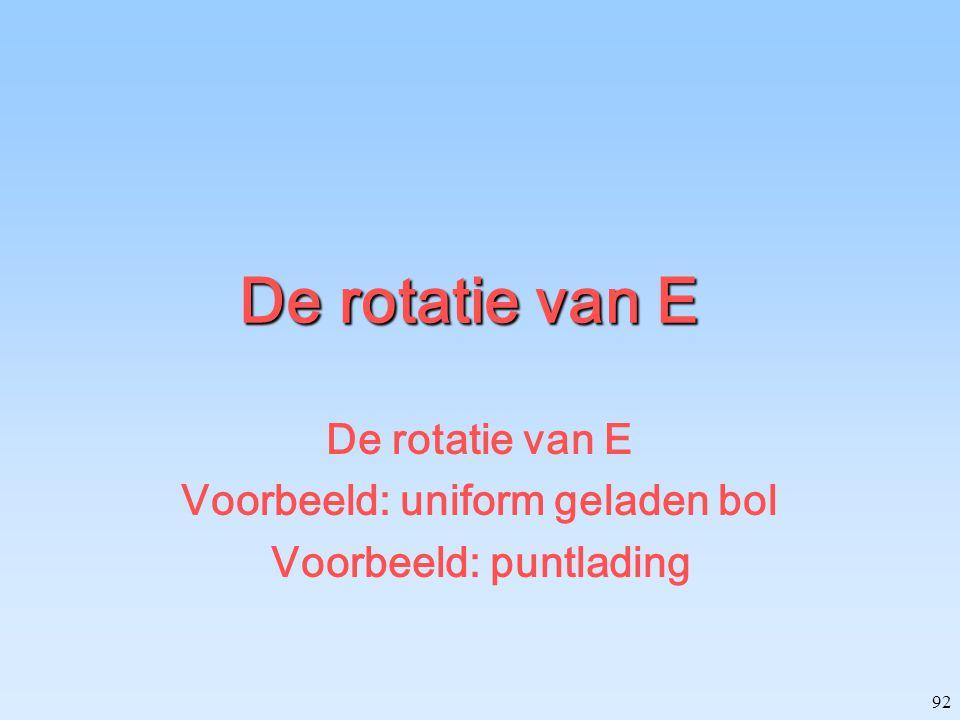92 De rotatie van E Voorbeeld: uniform geladen bol Voorbeeld: puntlading