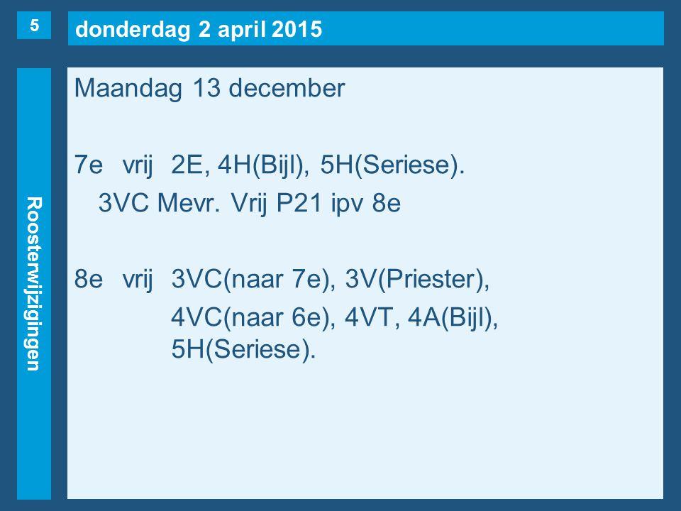 donderdag 2 april 2015 Roosterwijzigingen Maandag 13 december 7evrij2E, 4H(Bijl), 5H(Seriese). 3VC Mevr. Vrij P21 ipv 8e 8evrij3VC(naar 7e), 3V(Priest