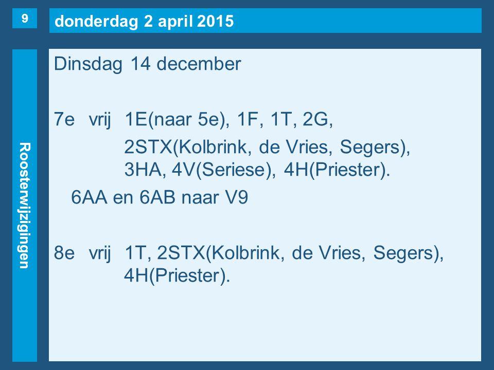 donderdag 2 april 2015 Roosterwijzigingen Dinsdag 14 december 7evrij1E(naar 5e), 1F, 1T, 2G, 2STX(Kolbrink, de Vries, Segers), 3HA, 4V(Seriese), 4H(Pr