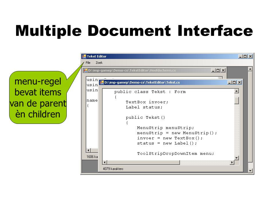 Multiple Document Interface menu-regel bevat items van de parent èn children