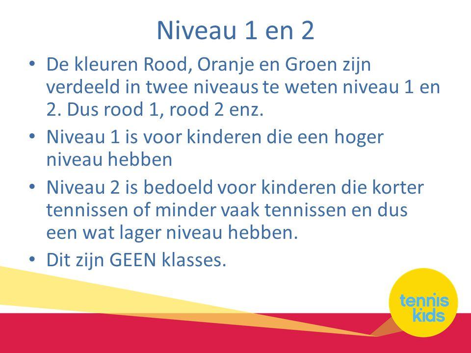 Niveau 1 en 2 De kleuren Rood, Oranje en Groen zijn verdeeld in twee niveaus te weten niveau 1 en 2.