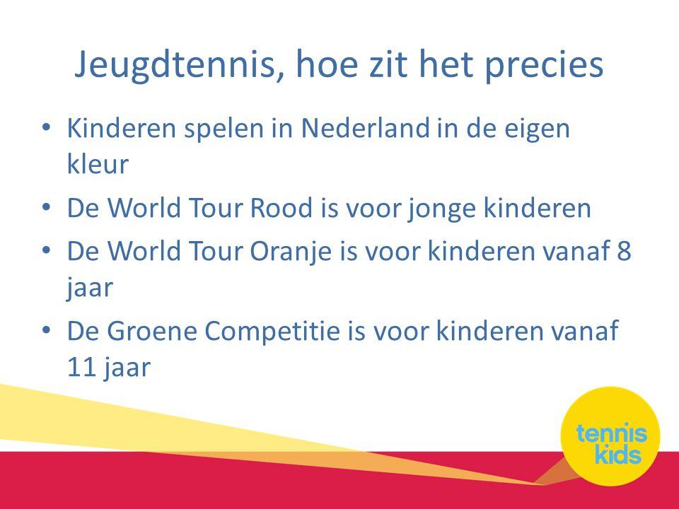 Jeugdtennis, hoe zit het precies Kinderen spelen in Nederland in de eigen kleur De World Tour Rood is voor jonge kinderen De World Tour Oranje is voor kinderen vanaf 8 jaar De Groene Competitie is voor kinderen vanaf 11 jaar