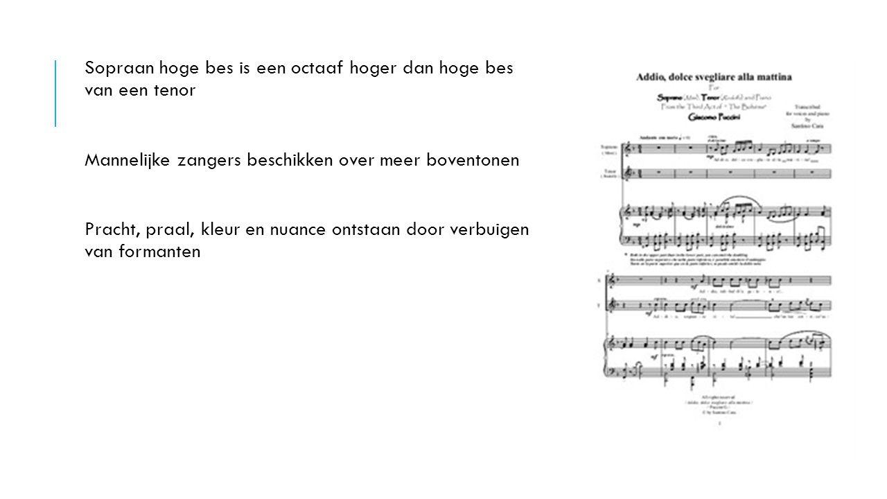 Sopraan hoge bes is een octaaf hoger dan hoge bes van een tenor Mannelijke zangers beschikken over meer boventonen Pracht, praal, kleur en nuance onts