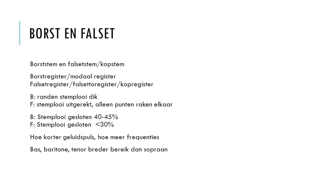 BORST EN FALSET Borststem en falsetstem/kopstem Borstregister/modaal register Falsetregister/falsettoregister/kopregister B: randen stemplooi dik F: s