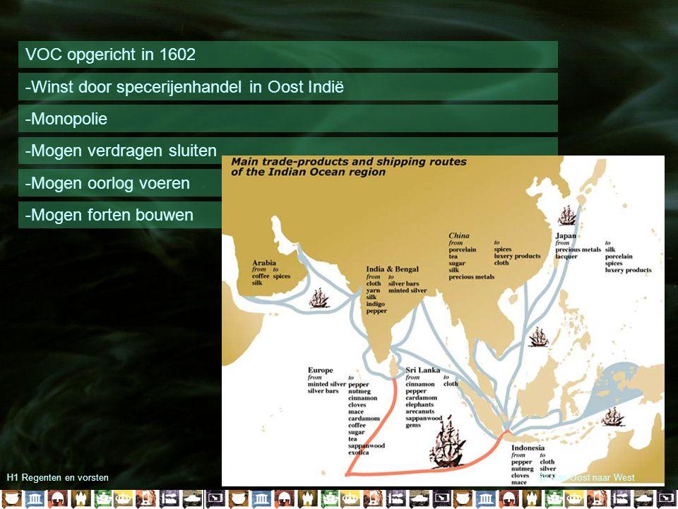 H1 Regenten en vorsten WIC opgericht in 1602 -Winst door handel met Amerika -Monopolie -Kaapvaart §2 Van Oost naar West
