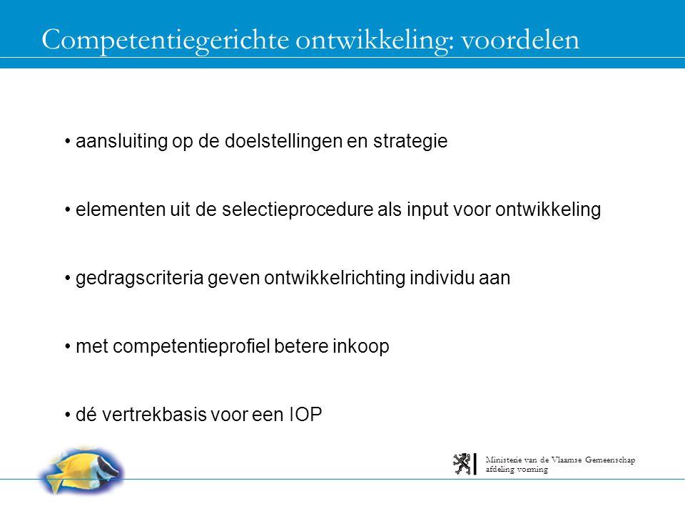 Rol van de opleidingsverantwoordelijke betrokken bij het opstellen van profielen advies over juiste ontwikkelactiviteit advies over juiste aanbieder afdeling vorming Ministerie van de Vlaamse Gemeenschap