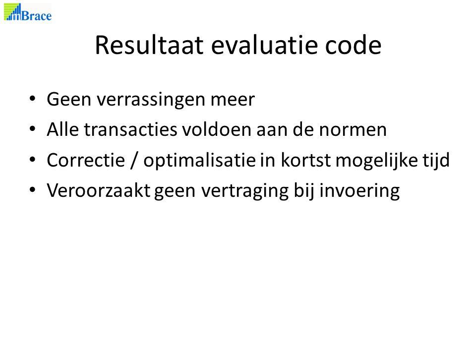 Resultaat evaluatie code Geen verrassingen meer Alle transacties voldoen aan de normen Correctie / optimalisatie in kortst mogelijke tijd Veroorzaakt geen vertraging bij invoering