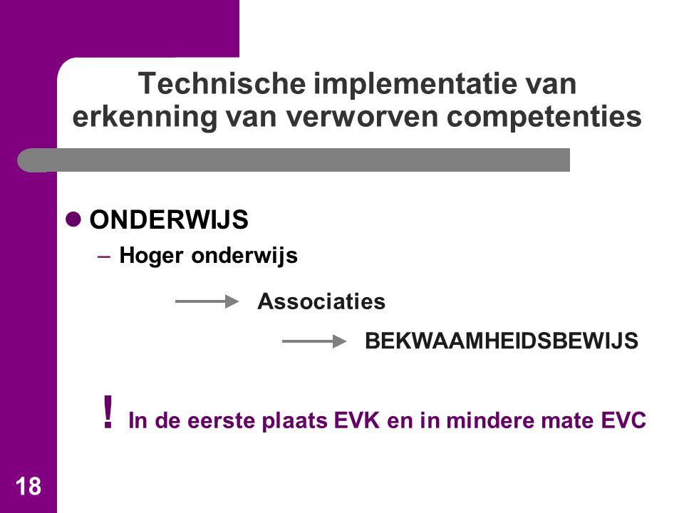 18 Technische implementatie van erkenning van verworven competenties ONDERWIJS –Hoger onderwijs Associaties BEKWAAMHEIDSBEWIJS .