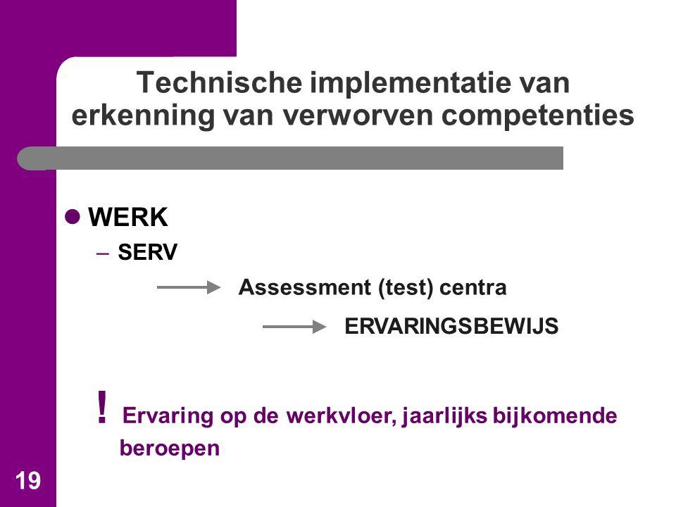 19 Technische implementatie van erkenning van verworven competenties WERK –SERV Assessment (test) centra ERVARINGSBEWIJS .