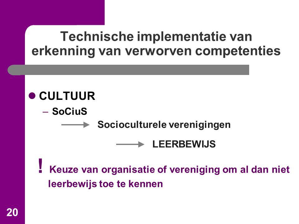 20 Technische implementatie van erkenning van verworven competenties CULTUUR –SoCiuS Socioculturele verenigingen LEERBEWIJS .