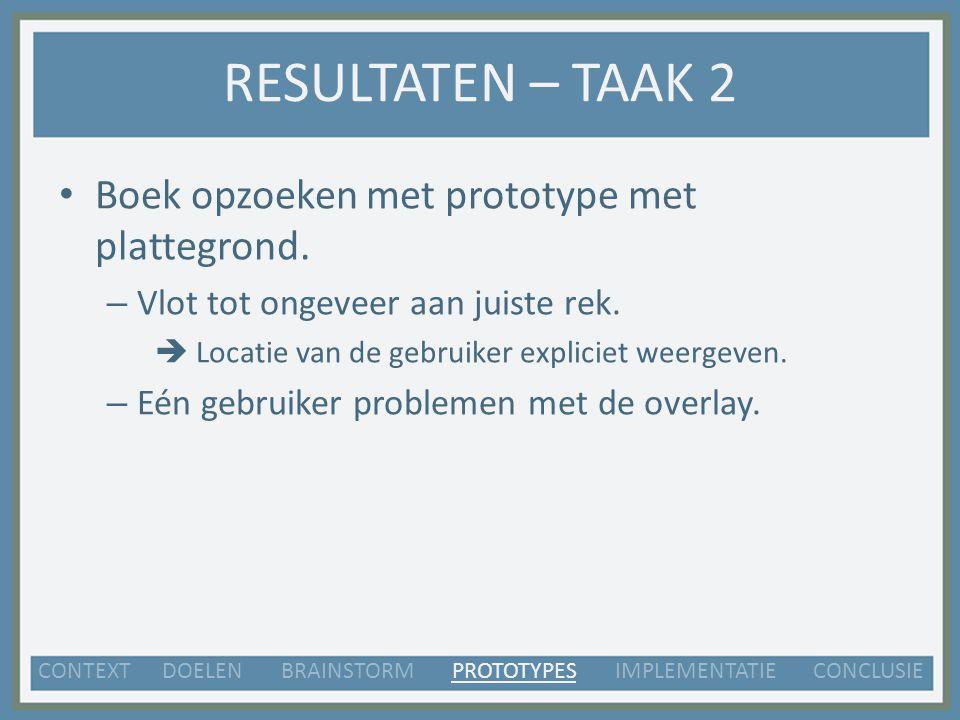 RESULTATEN – TAAK 2 Boek opzoeken met prototype met plattegrond.