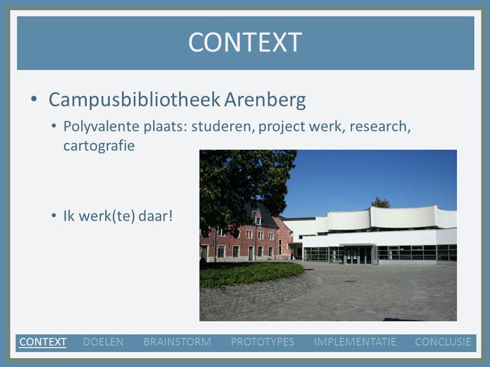 CONTEXT Campusbibliotheek Arenberg Polyvalente plaats: studeren, project werk, research, cartografie Ik werk(te) daar.