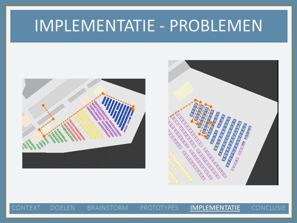 IMPLEMENTATIE - PROBLEMEN CONTEXT DOELEN BRAINSTORM PROTOTYPES IMPLEMENTATIE CONCLUSIE