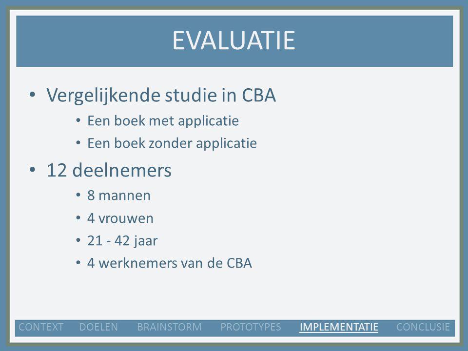 EVALUATIE Vergelijkende studie in CBA Een boek met applicatie Een boek zonder applicatie 12 deelnemers 8 mannen 4 vrouwen 21 - 42 jaar 4 werknemers van de CBA CONTEXT DOELEN BRAINSTORM PROTOTYPES IMPLEMENTATIE CONCLUSIE
