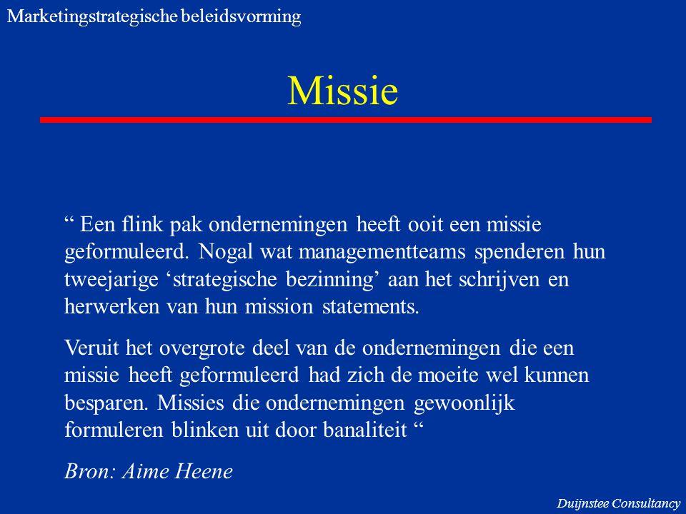 De kern Visie Missie Core Competence Klantbehoeften Unieke vaardig- heden/ KSF's Trends Marketingstrategische beleidsvorming Duijnstee Consultancy ?