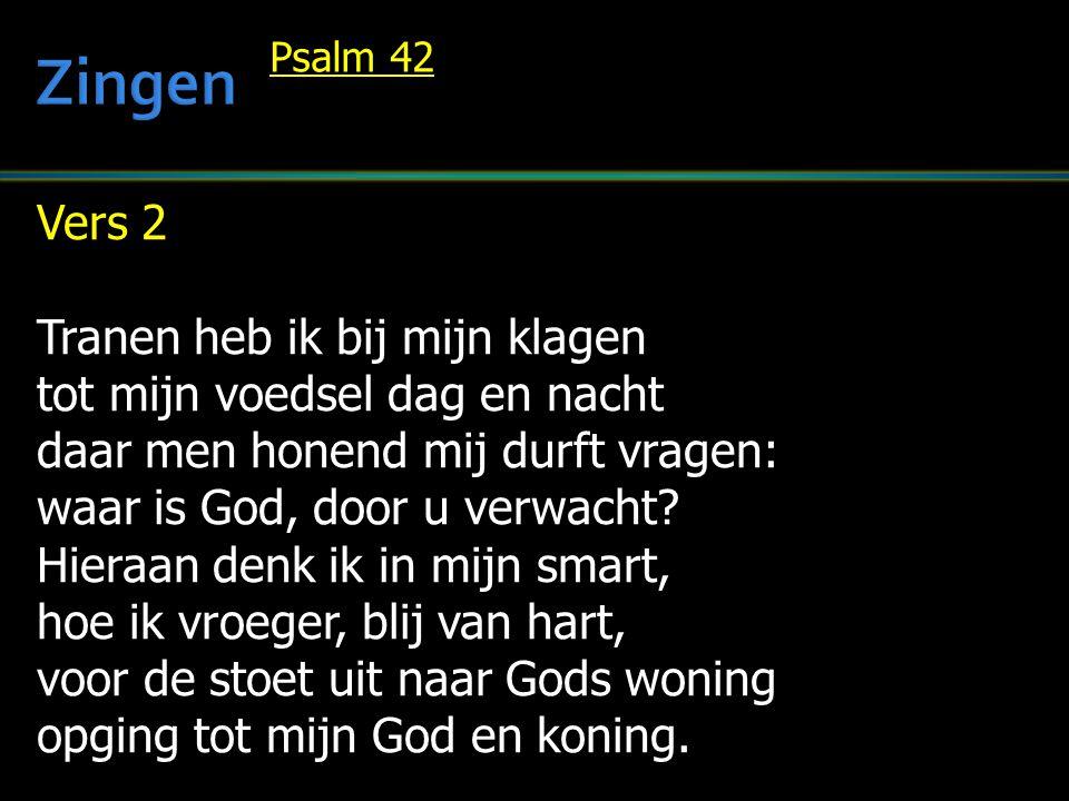 Vers 2 Tranen heb ik bij mijn klagen tot mijn voedsel dag en nacht daar men honend mij durft vragen: waar is God, door u verwacht? Hieraan denk ik in