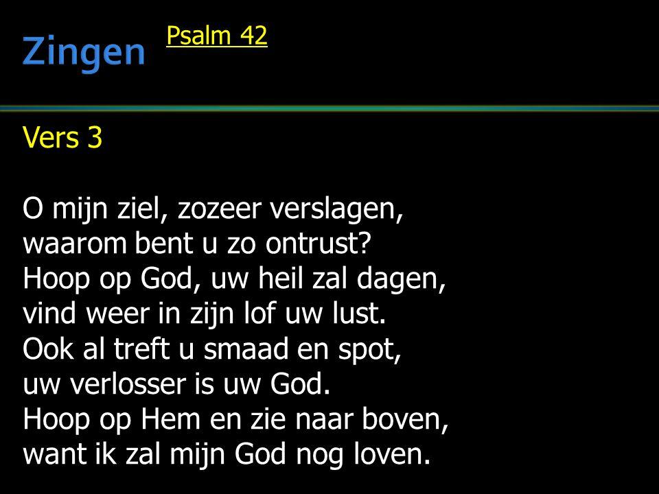 Vers 3 O mijn ziel, zozeer verslagen, waarom bent u zo ontrust? Hoop op God, uw heil zal dagen, vind weer in zijn lof uw lust. Ook al treft u smaad en