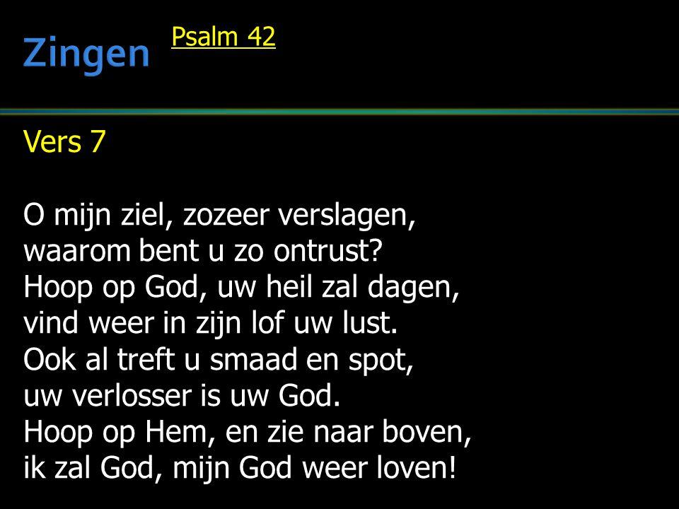 Vers 7 O mijn ziel, zozeer verslagen, waarom bent u zo ontrust? Hoop op God, uw heil zal dagen, vind weer in zijn lof uw lust. Ook al treft u smaad en