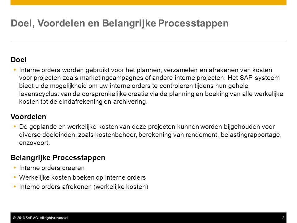 ©2013 SAP AG. All rights reserved.2 Doel, Voordelen en Belangrijke Processtappen Doel  Interne orders worden gebruikt voor het plannen, verzamelen en