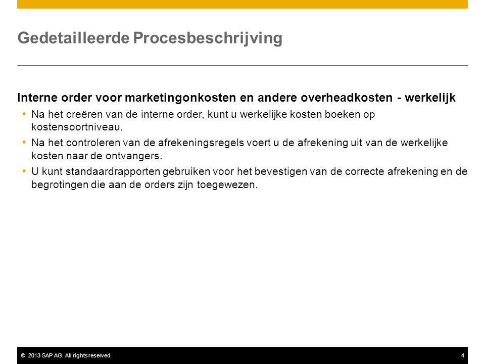 ©2013 SAP AG. All rights reserved.4 Gedetailleerde Procesbeschrijving Interne order voor marketingonkosten en andere overheadkosten - werkelijk  Na h