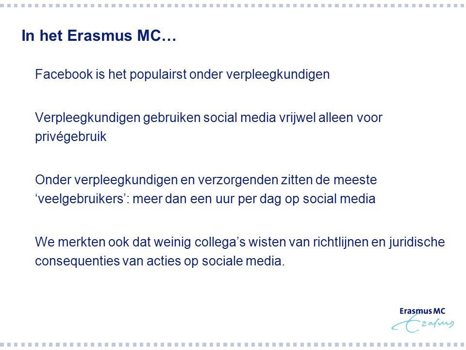In het Erasmus MC…  Facebook is het populairst onder verpleegkundigen  Verpleegkundigen gebruiken social media vrijwel alleen voor privégebruik  Onder verpleegkundigen en verzorgenden zitten de meeste 'veelgebruikers': meer dan een uur per dag op social media  We merkten ook dat weinig collega's wisten van richtlijnen en juridische consequenties van acties op sociale media.