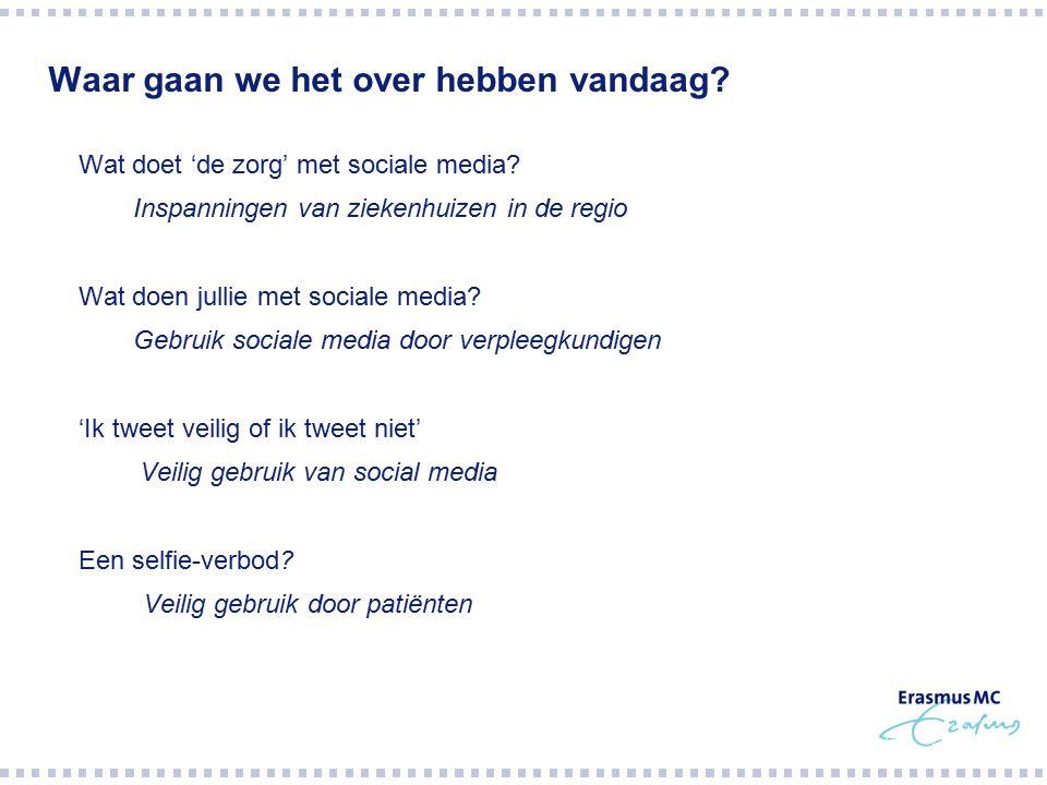 Waar gaan we het over hebben vandaag?  Wat doet 'de zorg' met sociale media?  Inspanningen van ziekenhuizen in de regio  Wat doen jullie met social
