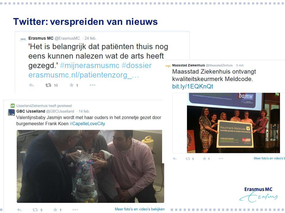 Twitter: verspreiden van nieuws