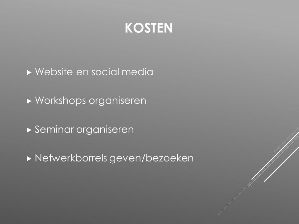  Website en social media  Workshops organiseren  Seminar organiseren  Netwerkborrels geven/bezoeken KOSTEN