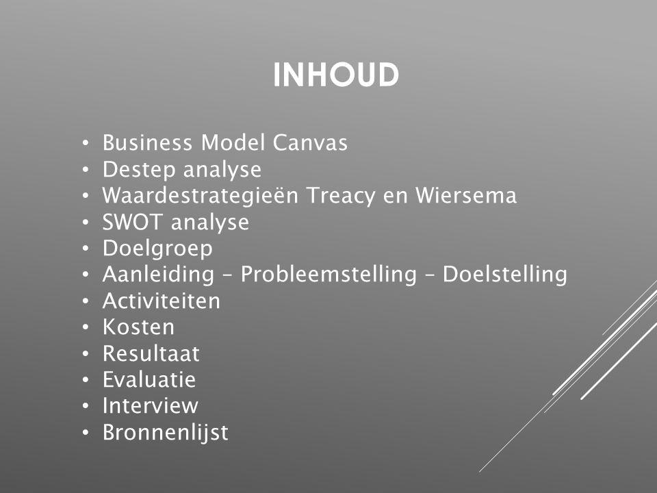 INHOUD Business Model Canvas Destep analyse Waardestrategieën Treacy en Wiersema SWOT analyse Doelgroep Aanleiding – Probleemstelling – Doelstelling A