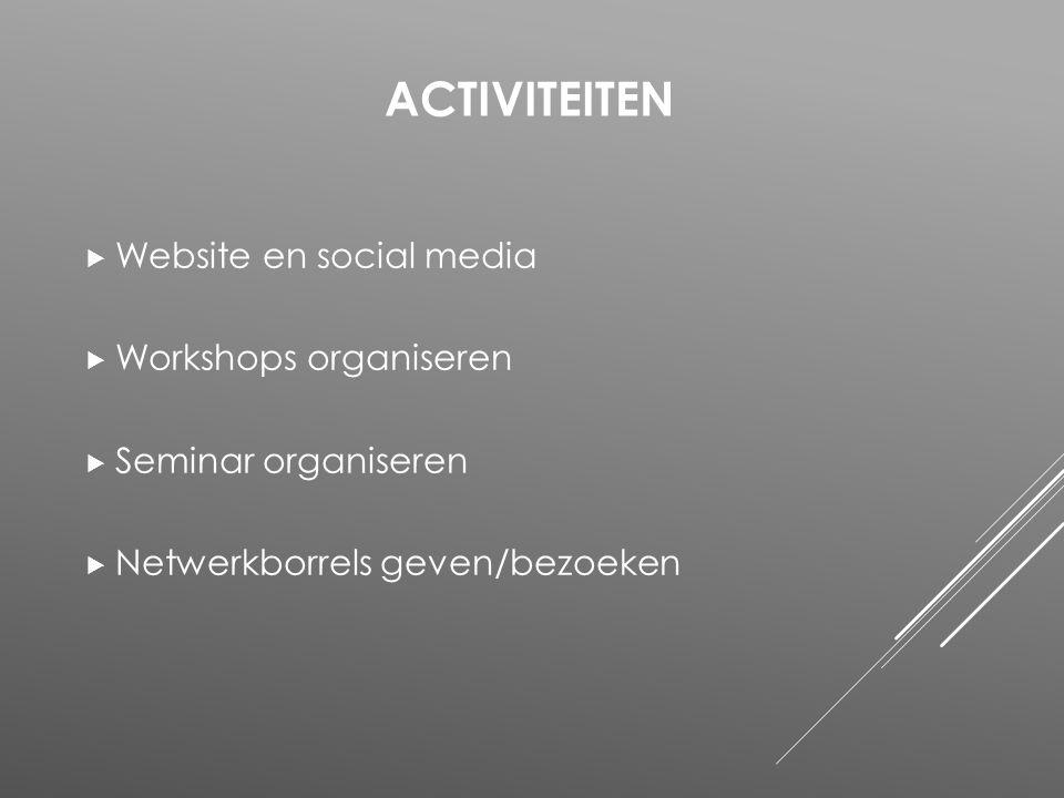  Website en social media  Workshops organiseren  Seminar organiseren  Netwerkborrels geven/bezoeken ACTIVITEITEN
