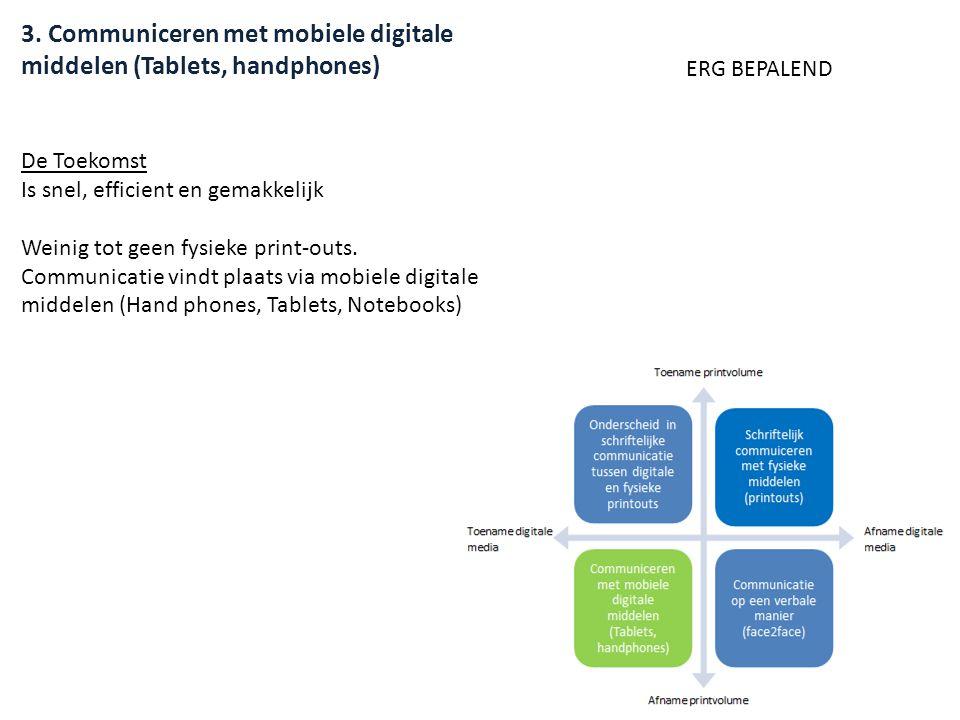 3. Communiceren met mobiele digitale middelen (Tablets, handphones) De Toekomst Is snel, efficient en gemakkelijk Weinig tot geen fysieke print-outs.