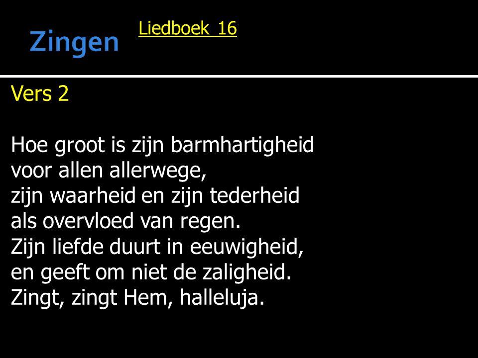 Liedboek 16 Vers 2 Hoe groot is zijn barmhartigheid voor allen allerwege, zijn waarheid en zijn tederheid als overvloed van regen.