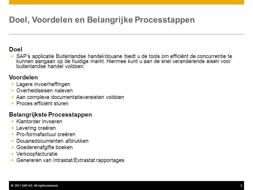©2011 SAP AG. All rights reserved.2 Doel, Voordelen en Belangrijke Processtappen Doel  SAP's applicatie Buitenlandse handel/douane biedt u de tools o
